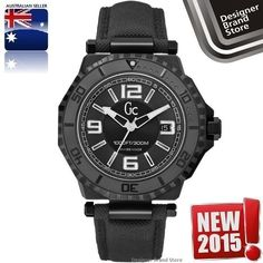 NEW MENS GUESS COLLECTION GC-3 DIVER WATCH BLACK IP STEEL NYLON STRAP X79011G2S