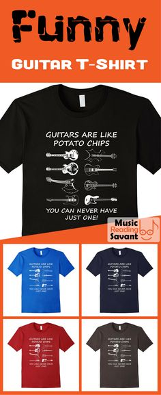 Funny guitar t-shirt for men, women and youth in a variety of sizes and colors. Great for guitar players and collectors! | Music Humor