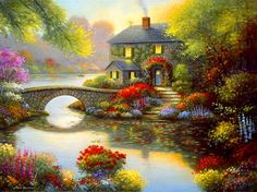 Fairytale cottage - reflection, lake, calm, bridge, fairytale, beautiful, flowers, spring, serenity, house, art, cottage, river, summer, painting