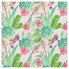 Blossoming cactus succulents in a watercolor illustration. Cactus Fabric, Tropical Fabric, Sewing Projects, Diy Projects, Watercolor Cactus, Japanese Fabric, Watercolor Illustration, Cacti, Kids Rooms