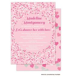Shower her with Love! This beautiful card features shades of pink, white and gray confetti hearts with coordinating hearts printed on the back of the card. from Little Angel Announcements
