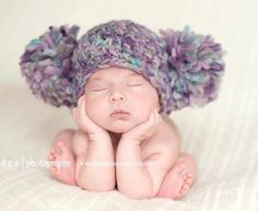 READY Baby Girl Hat BEAUTIFUL Newborn Baby Girl Crochet Knit Chunky Pom Pom  Hat Purple Photography Prop HTF 61e04b5007d
