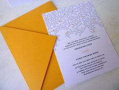 mustard and gray wedding invitation