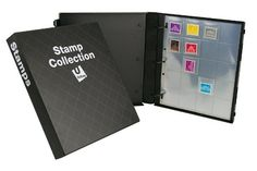 """#Stamp #Collection Binder Kit - on Amazon Prime http://amzn.to/1JqsUQ7  Store and display over 200 of your collective postage stamps  Includes 10 Collector Archival-Safe sheet protectors in a polished black-on-black """"grid"""" design binder"""