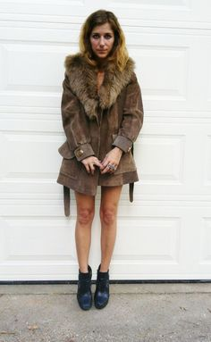 1970s SUEDE Coat with FAUX FUR