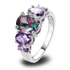 Mystic Topaz 5 Stones 925 Silver Ring