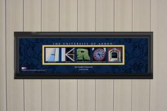 Personalized Akron Zips Letter Art Print Blue Background College Letters, University Of Akron, Akron Zips, Letter Art, Blue Backgrounds, Wall Art Prints, Handmade Gifts, Frame, Etsy