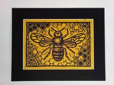 Hey, I found this really awesome Etsy listing at https://www.etsy.com/listing/251652648/love-bees-bee-black-yellow-linoleum