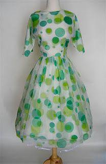 Vintage green polka dots!