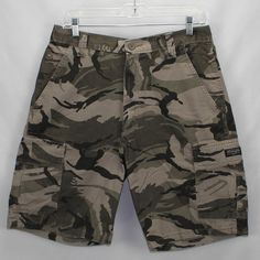 7e33b35cf6 Wrangler Green Camouflage Cargo Shorts Mens Size 32 Loose Fit All Cotton  60HB021 #Wrangler #