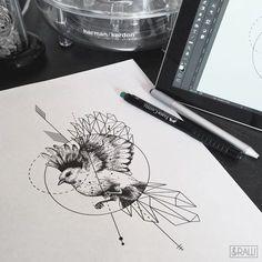 Custom geometric bird tattoo design for Jenny (ig: jenuariya) Custom design requests, instant designs: Skinque.com