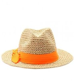 Toyo Crochet Small Brim Fedora With Neon Band by Hat Attack Neon Accessories, Thanks Mom, Straw Fedora, Passion For Fashion, Crochet, Cowboy Hats, Band, My Style, Polyvore
