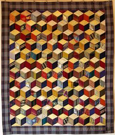 Recycled silk tie tumbling blocks quilt at Chambre des Couleurs (France)