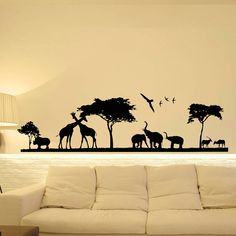 Safari Wall Decal- Jungle Wall Decal- Animal Wall Decal Stickers Safari Nursery Decor- Bedroom Nursery Living Room Wall Art Home Decor  Approximate