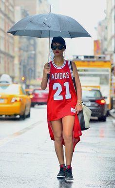 Only #Rihanna would take a Basketball #Jersey and rock it as a dress in #NewYorkCity! #Adidas Basketball Jersey x Shades x Jordans. #Riri #Supreme #BigApple #NYC #sexy #hipster #dmv #blackscale #crsvr #crooks #dgk #dmv #diamond #dmnd #fresh #huf #hundreds #10deep #sneakerhead #kazbah #karmaloop #lrg #monarch #obey #plndr #primitive #stussy #supreme #trukfit #thehundreds