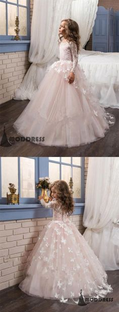Lovely Applique Flower Girl Dresses Princess Beading Pink Ball Gowns Long Sleeve Pageant Dresses Birthday Party Dresses,HT024 #flowergirldress#wedding#pageantdress#birthdaypartydress#ballgowns