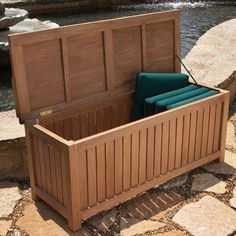 Large Deck Box accommodates large items such as furniture cushions. Beautiful, long-lasting wood combines with everlasting style. Season after season, teak outdoor furniture remains a popular choice. This highly durable, long-lasting wood Teak Outdoor Furniture, Deck Furniture, Rustic Furniture, Antique Furniture, Modern Furniture, Deck Box, Cool Deck, Diy Deck, Deck Building Plans
