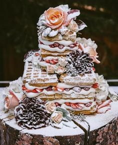 Winter waffle cake tower with flowers birthday dreaming