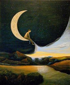 ARTWork, Peinture de Benoît Moraillon, France. 'Une enfance dans la lune' - Peinture de Benoît Moraillon, France Pinterest