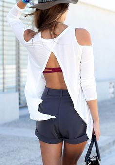 White Slit Back Tee