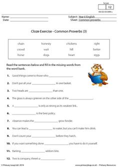 PrimaryLeap.co.uk - Cloze Exercise - Common Proverbs (3) Worksheet