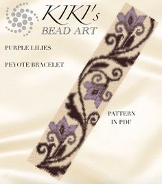 Peyote pattern for bracelet  Purple lilies peyote bracelet