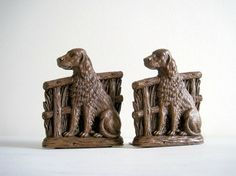 Decorative Accessories -- Vintage Spaniel Dog Bookends Syroco Wood by GoldenDaysAntiques
