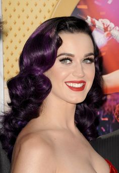 Black And Purple Hair | ... Katy wore her shiny deep purple hair in a side part and retro waves