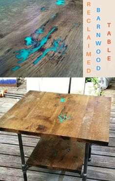 This reclaimed wood industrial table is made from old barn wood & pipe legs.  To give the cracks a pop of color, resin was added.  The legs are pipes.  If you like the looks of this table, TrashStudio does custom tables.