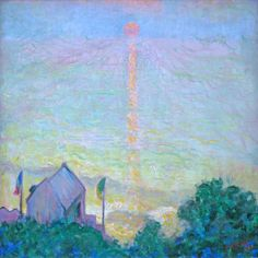 'Sunset at Veules-les-Roses, Normandy', 1909 - Theodore Butler . Butler was the son-in-law of Monet and founding member of the Society of Independent Artists. American Impressionism, Post Impressionism, Paintings For Sale, Original Paintings, Oil Paintings, Sunset Landscape, Art Studies, Claude Monet, Landscape Paintings