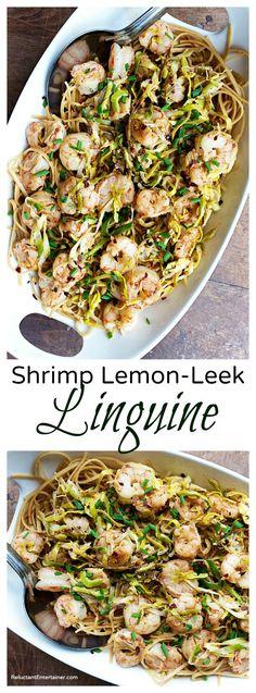 Shrimp Lemon-Leek Linguine Recipe
