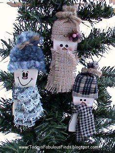 snowmen ornaments from the tops of paint stir sticks