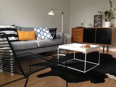 My living room. Hay tray, hay hee lounge, ikea karlstad, 60-luku, artek E60
