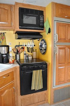 organized rv kitchen area