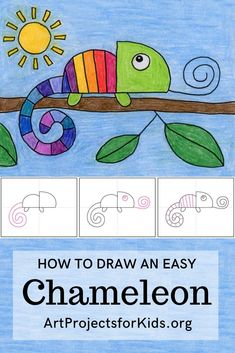 How to Draw a Chameleon · Art Projects for Kids - - How do you draw a chameleon with all his intricate parts and coloring? If you are just starting out, this simple step by step version might work best. Classroom Art Projects, Easy Art Projects, Art Classroom, Art Projects For Adults, Toddler Art Projects, Kindergarten Art Projects, Creative Classroom Ideas, Art Project For Kids, Kindergarten Drawing
