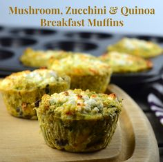 Perfect make ahead breakfast. Just grab a couple of this super nutritious mushroom, zucchini & quinoa muffins to start your day with energy! Vegetarian, gluten free and great for Passover