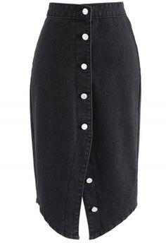 Attractive Steps Denim Pencil Skirt in Black
