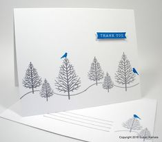 If you're like me and have been slacking about holiday thank-you notes, here's a simple card that will mass-produce pretty easily. Christmas Thank You, Christmas Cards, Thank You Notes, Thank You Cards, Butterfly Cards, Winter Cards, Batman, Winter Theme, Christmas Inspiration