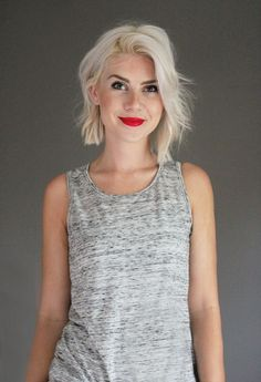 Platinum blonde, white, blunt, bob, straight, choppy, edgy, red lipstick