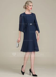 4e64259ade6 A-Line Princess Scoop Neck Knee-Length Chiffon Mother of the Bride Dress  With Ruffle Lace Beading Sequins - Mother of the Bride Dresses - JJsHouse