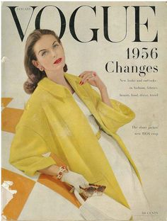 Vogue, January 1956 ~ fair skin with brown hair looks so pretty wearing yellow. Fashion Art, Vogue Fashion, 1950s Fashion, Fashion History, Fashion Models, Vintage Fashion, Bold Fashion, Fashion Trends, Vogue Magazine Covers