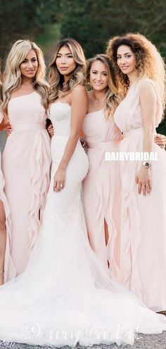 Newest A-line Pink One Shoulder Slit Long Bridesmaid Dress, FC4906 #bridesmaiddresses #bridesmaiddress #bridesmaids #dressesformaidofhonor #weddingparty #2021bridesmaiddresses #2021wedding Bridesmaid Poses, Mermaid Bridesmaid Dresses, Bridesmaid Dress Colors, Brides And Bridesmaids, Wedding Dresses, Dusty Rose Wedding, Blush Pink Weddings, Inexpensive Bridesmaid Dresses, Bridal Looks