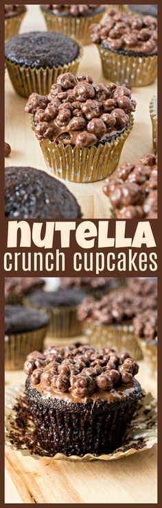Nutella Crunch Cupcakes – A super moist chocolate cupcake, dipped in creamy Nutella hazelnut spread, and crunchy chocolate pieces. The perfect combination of textures that will satisfy any sweet tooth!