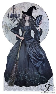 Vintage Halloween Decor - BLACK MAGIC WITCH SIGNBOARD
