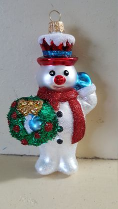 Blown Glass Snowman with Wreath Christmas Tree Ornament Decoration or Bauble by ukbeadsonline on Etsy