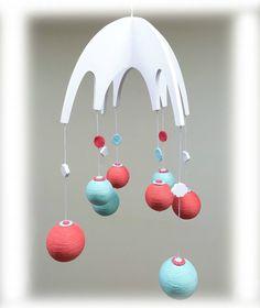 Nouveau mobile en bois en boules de coton pour chambre de bébé, orange, vert d'eau et blanc
