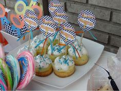 That a look at these cool Hot Wheel party toppers for this young boys birthday party! See more party ideas and share yours at CatchMyParty.com