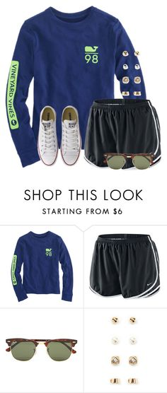 """""""Rainy-ish here"""" by flroasburn ❤ liked on Polyvore featuring NIKE, Ray-Ban, Forever 21 and Converse"""