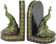 2 Victorian Vintage Art Deco Peacock feather BOOKEND book ends decor statue pair
