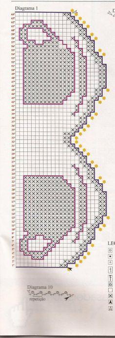 Olá pessoal!  aí gente que barrados lindos para enfeitar seus panos de prato  são todos de revistas,alguns da revista Bia Moreira e outros ... Filet Crochet, Crochet Borders, Thread Crochet, Crochet Crafts, Crochet Projects, Needlepoint Patterns, Baby Knitting Patterns, Knitting Designs, Cross Stitch Patterns